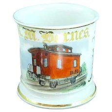 Antique Occupational Shaving Mug Caboose Conductor Delaware & Hudson RR