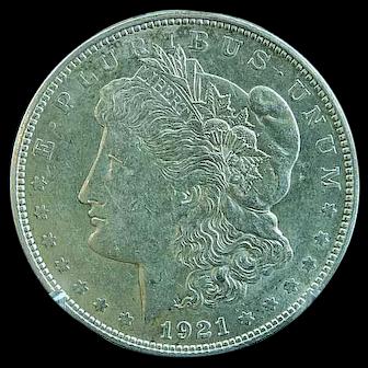 1921 D Morgan Silver Dollar Extra Fine