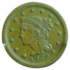 1852 Braided Hair Large Cent Extra Fine Detail