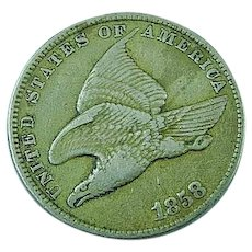 1858 One Cent Flying Eagle Penny Small Letters XF Price Guide Value $170