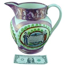 Large Antique Staffordshire Sunderland Luster Sailors Poem Jug Pitcher Ca 1830