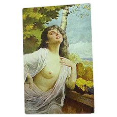 1918 Artist Signed Schneider Postcard German Beauty Semi Nude