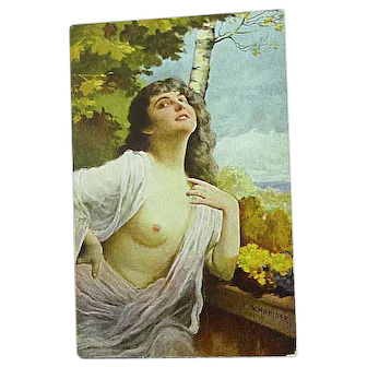 1918 Artist Signed Schneider Postcard German Beauty Semi Nude