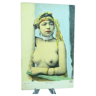 1920 French Mauresque Postcard Semi Nude African Beauty