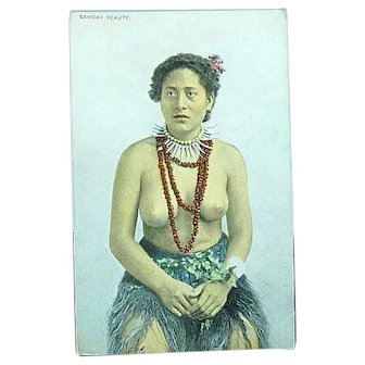 1915 French Postcard Semi Nude Samoan Beauty South Pacific
