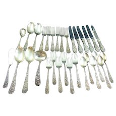 Kirk Stieff Sterling Silver Repousse Service for 6 Plus 7 Serving Pieces No Mono