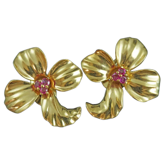 Stunning Pair Of Retro 14k Gold and Ruby Orchid Shaped Earrings from the 1950's