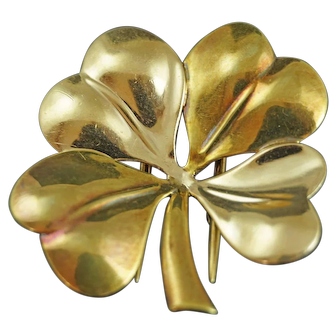 Circa 1940 Tiffany 14K Rose And Yellow Gold Four Leaf Clover Fur Clip / Pin