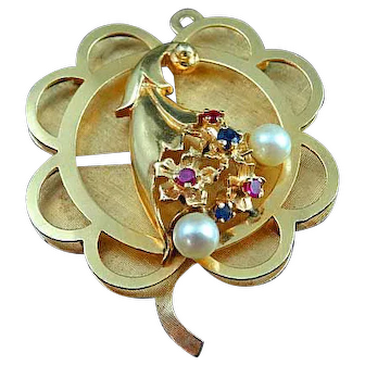 Large 14k Gold Necklace Pendant 4 Leaf Clover & Horn Of Plenty Sapphires Rubies