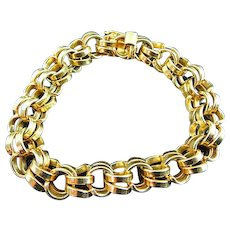 "45 Gram 11.4mm 7.75"" Mens 14k Yellow Solid Gold Double Curb Link Bracelet"
