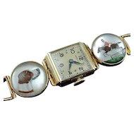 Art Deco 14k Reverse Intaglio Essex Crystal Equestrian Bracelet Watch
