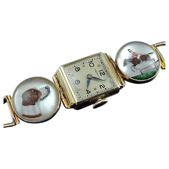 Art Deco 14k Reverse Intaglio Essex Crystal Equestrian Bracelet Watch