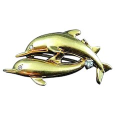 Dankner 14k Yellow Gold and Diamond Leaping Dolphin Brooch Pin 7.7 Grams