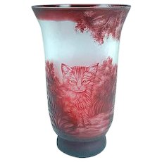 Large Antique 1930's French Red Cameo Art Glass Vase With Cat Signed #1
