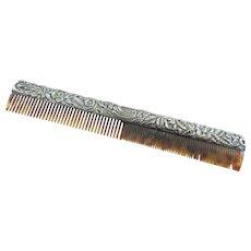 Antique Sterling Silver Heavy Repousse Faux Celluloid Tortoise Hand Hair Comb