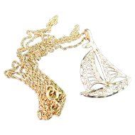 14k Yellow Gold Sailboat Charm Necklace and Pendant