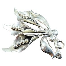 Fancy Hand Made Sterling Silver Lily Brooch Pin