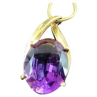 """24"""" 14k Yellow Gold Snake Chain Necklace with 13.10 Carat Amethyst Pendant"""