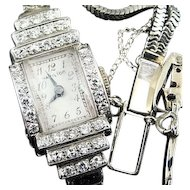 Vintage 14K White Gold Hamilton Ladies Wristwatch Paved With Diamonds 17 Jewel 911 Movement