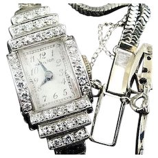 Vintage 14K White Gold Hamilton Ladies Wristwatch Paved With Diamonds 17 Jewel 911 Movement