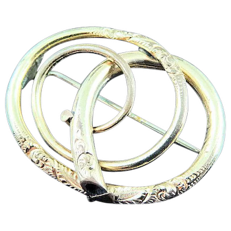 """1 1/2"""" Victorian Gold Filled Knot Brooch Pin"""