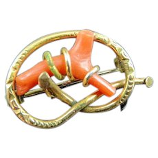 Victorian Gold Filled Knot With Red Branch Coral Brooch Pin