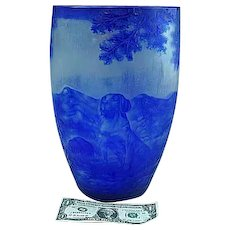 Large Antique 1930's French Blue Cameo Art Glass Vase With Dog Signed