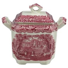 Mason's Vista England Transferware Red Pink Square Fan Sugar Bowl & Lid