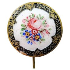"Antique Victorian Stick Pin With Large 1"" Enamel Floral Top"