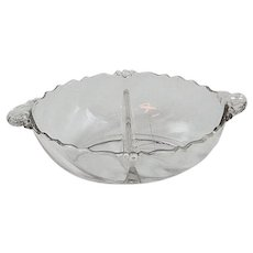 "8"" Heisey Glass Waverly Divided Condiments Bowl"