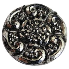 Antique Clothing Button Jet Black Glass Geometric With Silver Luster