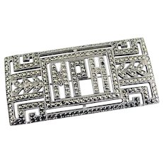 Brooch Sterling Deco Onyx Marcasite Big Rectangle Monogram Initial Pin MPH