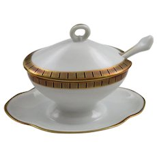 Richard Ginori Covered Mustard Tureen Heavy Gold Band With Straight Black Lines