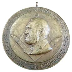 1902 Josiah Drummond Distinguished Service Masonic Medal Grand Lodge Of Maine