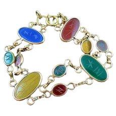"""Vintage Egyptian 10 Scarab Gold Filled & Gemstone Bracelet 7 3/4"""""""