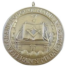 1908 Bronze 50 Years of Service Masonic Medal Grand Lodge Of Maine