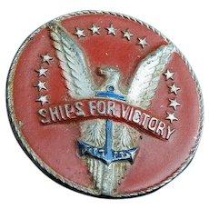 WW2 USMS US Merchant Service Marine Ships For Victory Pin Insigina NOS