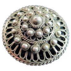 Antique Round Beaded Fancy Czechoslovakia Silver Brooch Pin