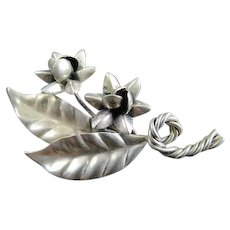 Vintage Fancy Hand Made Sterling Silver Leaf & Flower Pin Brooch