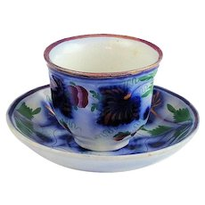 Gaudy Welsh Flow Blue Strawberry & Vine Cup & Saucer by Thomas Walker Ca 1845