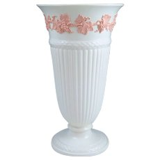 "Large Wedgwood Embossed Queensware Pink on Cream Fluted 11"" Vase"