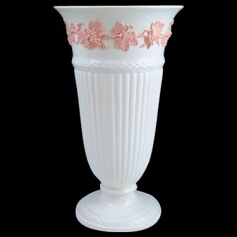 "Large Wedgwood Embossed Queensware Pink on Cream Fluted 11"" Vase"