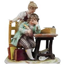 Unusual Antique Dresden Porcelain Figurine The Teacher and Student Mint