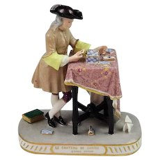 Unusual Antique Dresden Porcelain Figurine The Card Player Mint