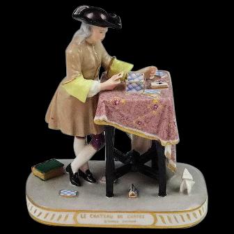 Unusual Antique Dresden Porcelain Figurine The Card Player Mint