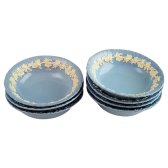 """7 Wedgwood Queensware Cream On Lavender Blue Shell Edge Cereal Bowls 6 1/4"""""""