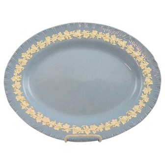 "Vintage Wedgwood Embossed QUEENS WARE 16"" PLATTER Shell Edge"