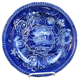 Dark Blue Staffordshire Transfer Plate Pains Hill Surrey By Hall Ca 1830 MINT