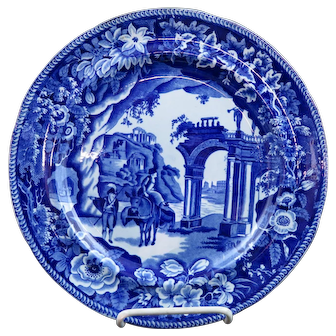 Dark Blue Staffordshire Transfer Plate Temple Ruins Clews Ca 1825 MINT #1