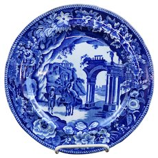 Dark Blue Staffordshire Transfer Plate Temple Ruins Clews Ca 1825 #2